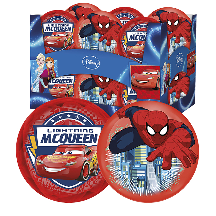 LIGHT UP BALL 10cm CARS & SPIDERMAN ASSORT. 10 cm