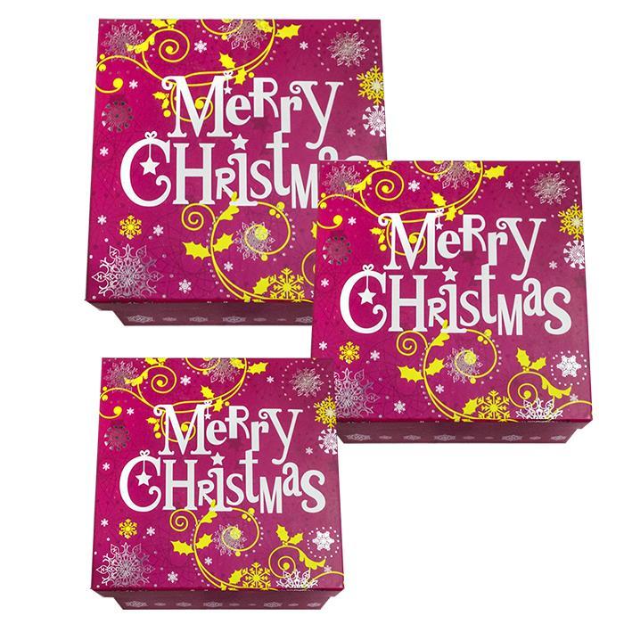 ΚΟΥΤΙΑ ΧΑΡΤΙΝΑ MERRY CHRISTMAS ΣΕΤ=3ΤΕΜ 28x11cm/ 24x10cm/ 21x9,5cm